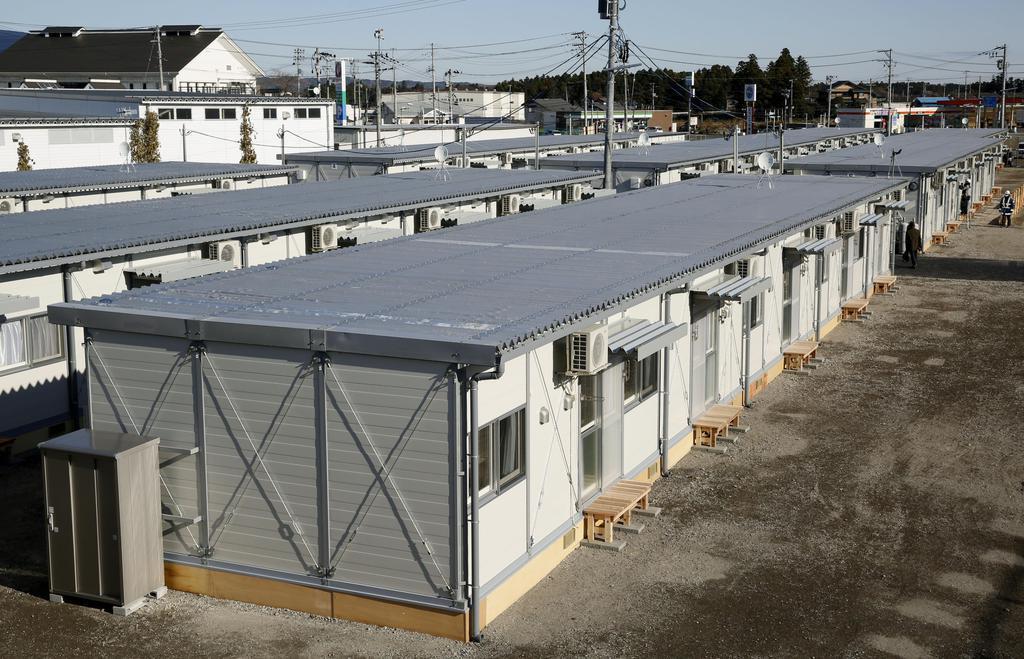 台風19号被災者の入居が始まった、宮城県大郷町のプレハブ仮設住宅=29日午前