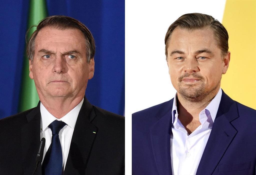 左から、ブラジルのボルソナロ大統領(UPI=共同)、レオナルド・ディカプリオさん(ゲッティ=共同)