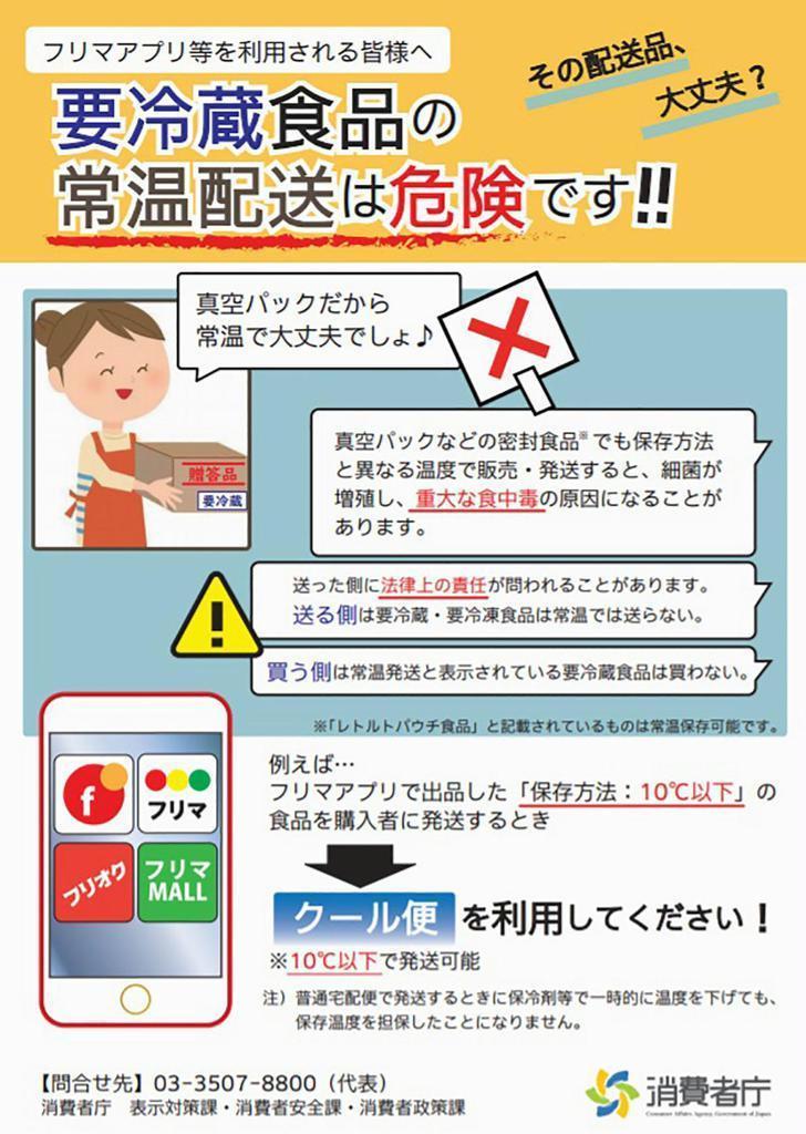 冷蔵が必要な食品の常温配送に注意を呼びかける消費者庁のパンフレット