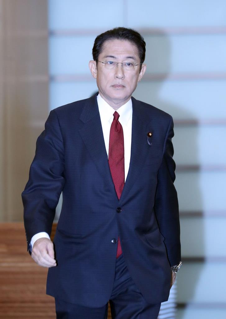 自民党・岸田文雄政調会長=3日、首相官邸(春名中撮影)