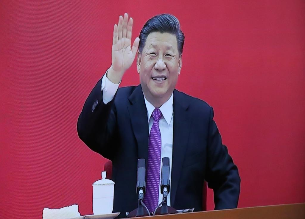 ガスパイプラインの開会式でロシアのプーチン大統領との共同ビデオ会議に出席する中国の習近平国家主席(AP)