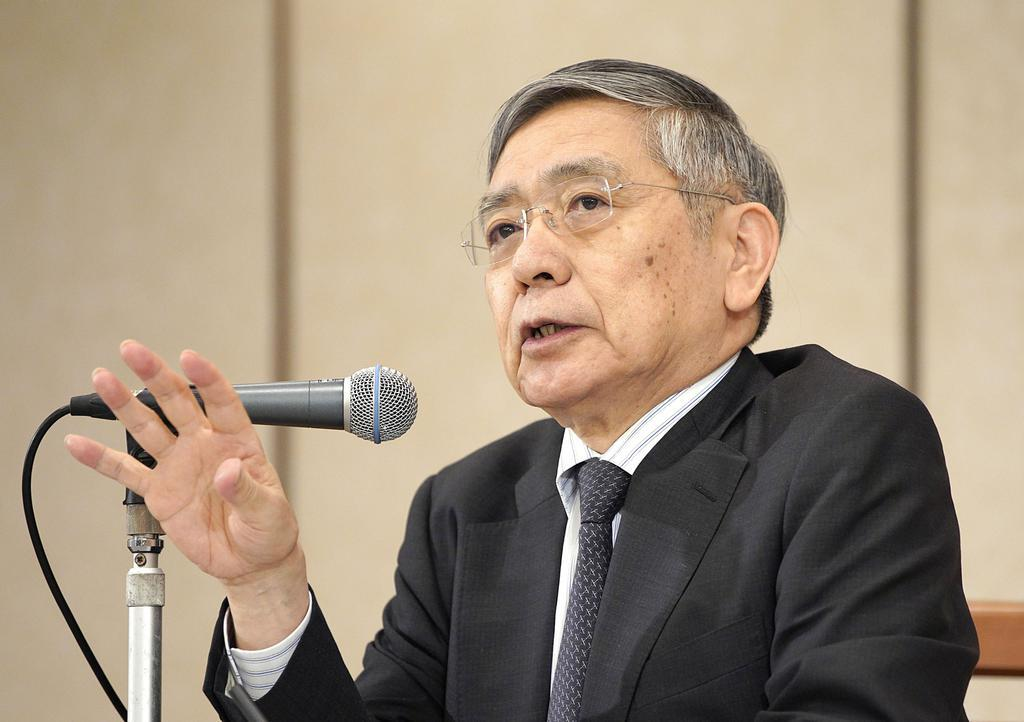 名古屋市で記者会見する日銀の黒田総裁=11月5日午後