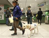 東京駅の新幹線改札、探知犬でチェック 五輪控えテロ対応実証実験