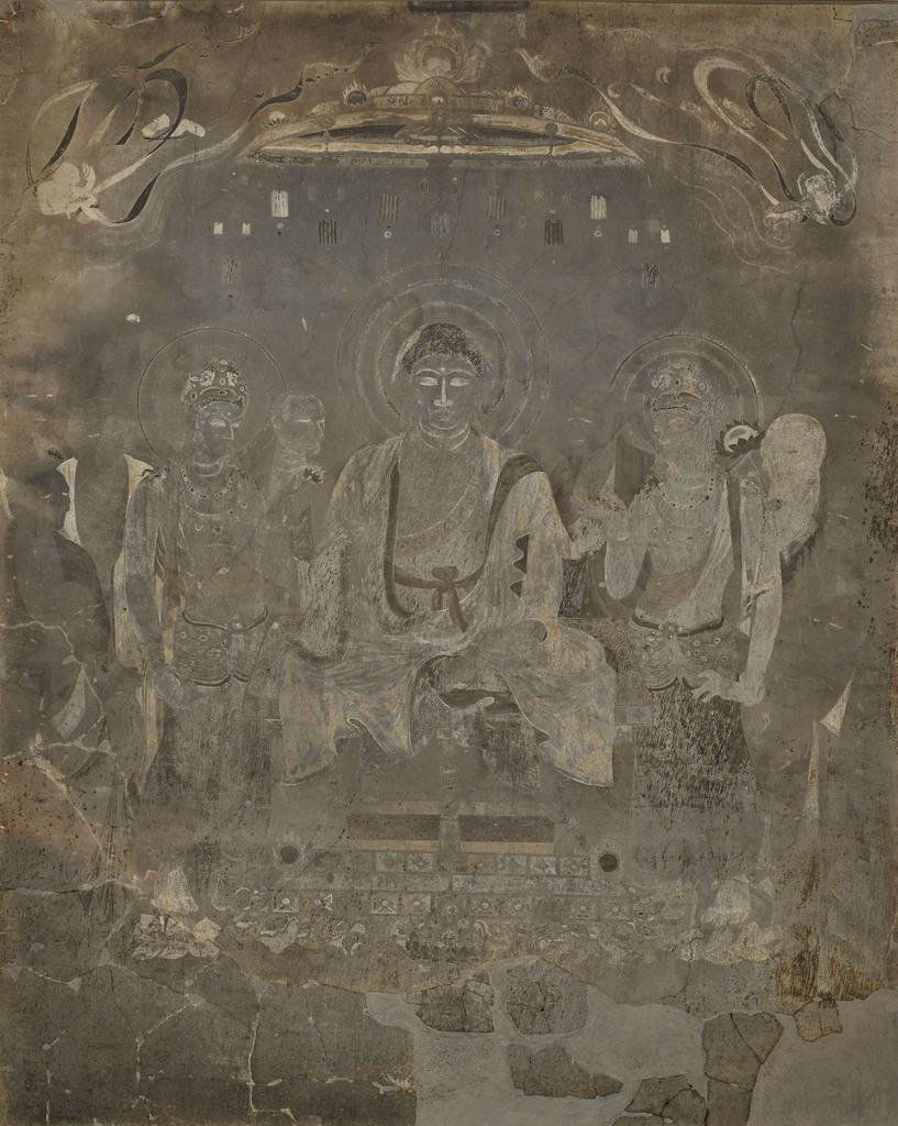 法隆寺金堂壁画の第1号壁・釈迦浄土図(奈良国立博物館提供)