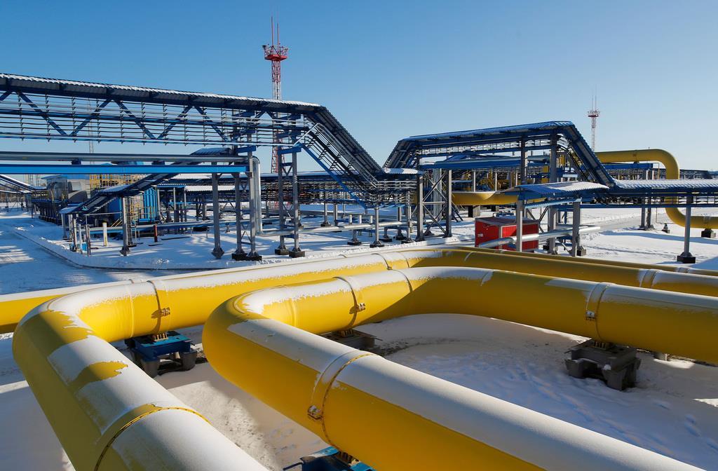 「シベリアの力」プロジェクトのガスパイプライン=11月29日、ロシア・スボボードヌイ(ロイター)