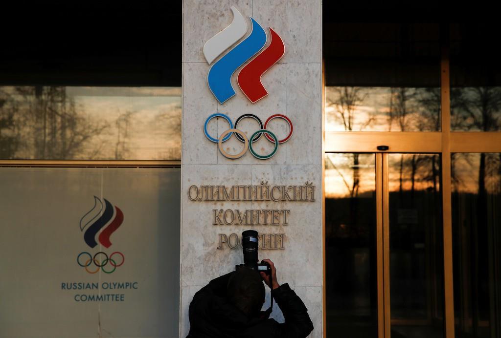 露オリンピック委員会が入居するビル=11月23日、モスクワ(ロイター)