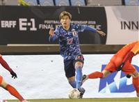 サッカー日本-中国速報(2) 畠中のシュートはゴールポスト直撃