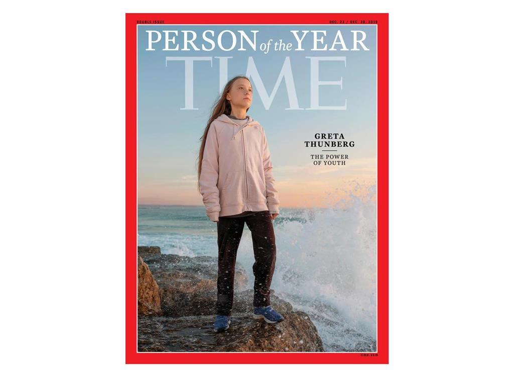 「今年の人」に選ばれたグレタ・トゥンベリさんを載せた米誌タイムの表紙(同誌提供・ロイター)