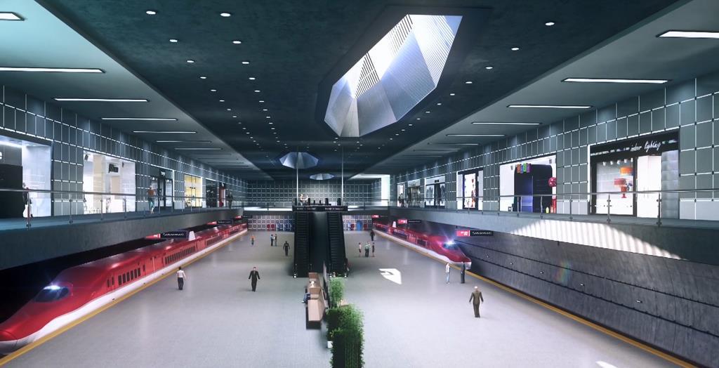 インドが建設を計画している高速鉄道のムンバイ駅の完成予想図。日本の新幹線方式が採用されている(JICA提供)