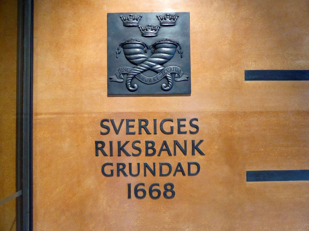 スウェーデンの中央銀行のロゴ(ロイター)