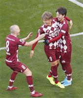 前半終えて神戸が2点リード サッカー天皇杯決勝