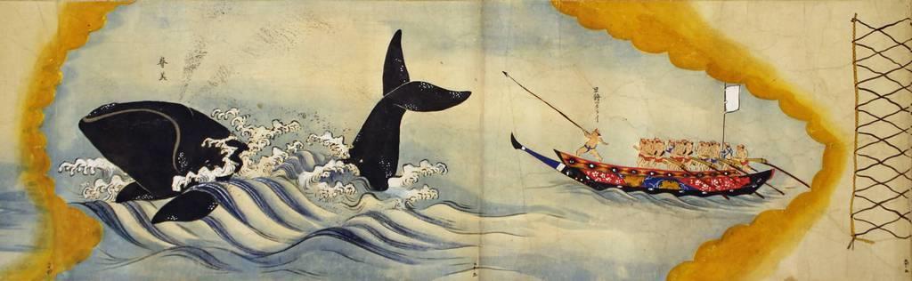 作者不詳の「古座浦捕鯨絵巻」。絵巻は現代のマンガの原型ともいわれる(白浜海洋美術館蔵)