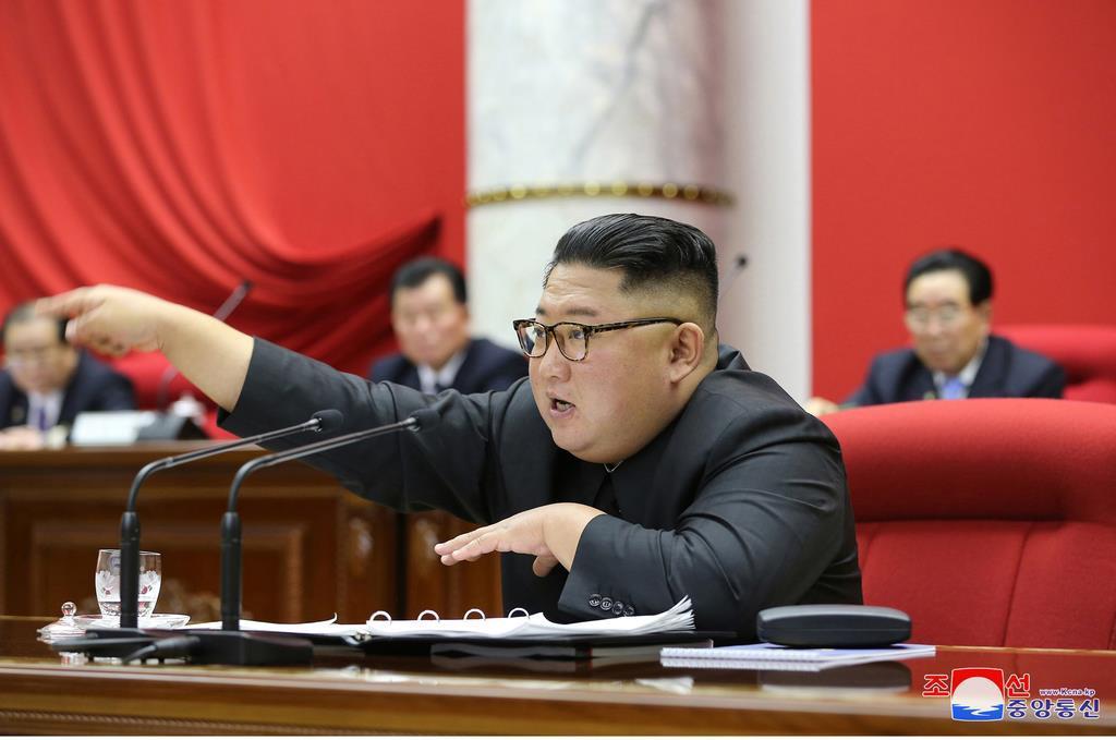 昨年12月28日から31日まで平壌の朝鮮労働党中央委員会本部庁舎で行われた朝鮮労働党中央委員会第7期第5回総会を指導する金正恩朝鮮労働党委員長(朝鮮中央通信=朝鮮通信)