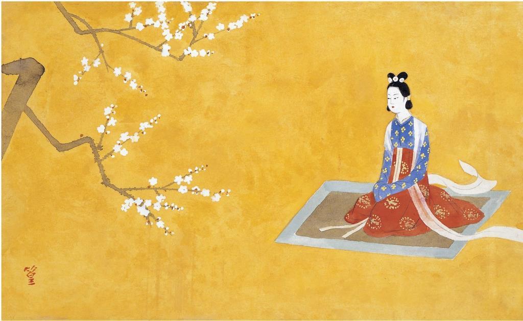 上村松篁の「額田女王」扉絵「額田女王」(松伯美術館提供)