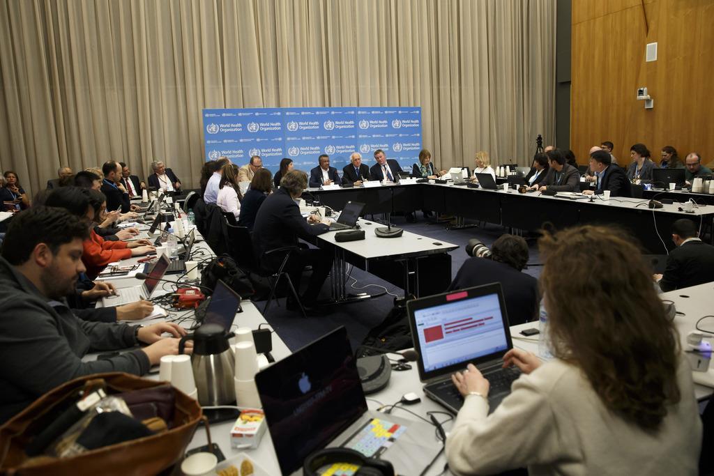 世界保健機関が22日、新型コロナウイルスによる肺炎について開いた緊急委員会(AP)