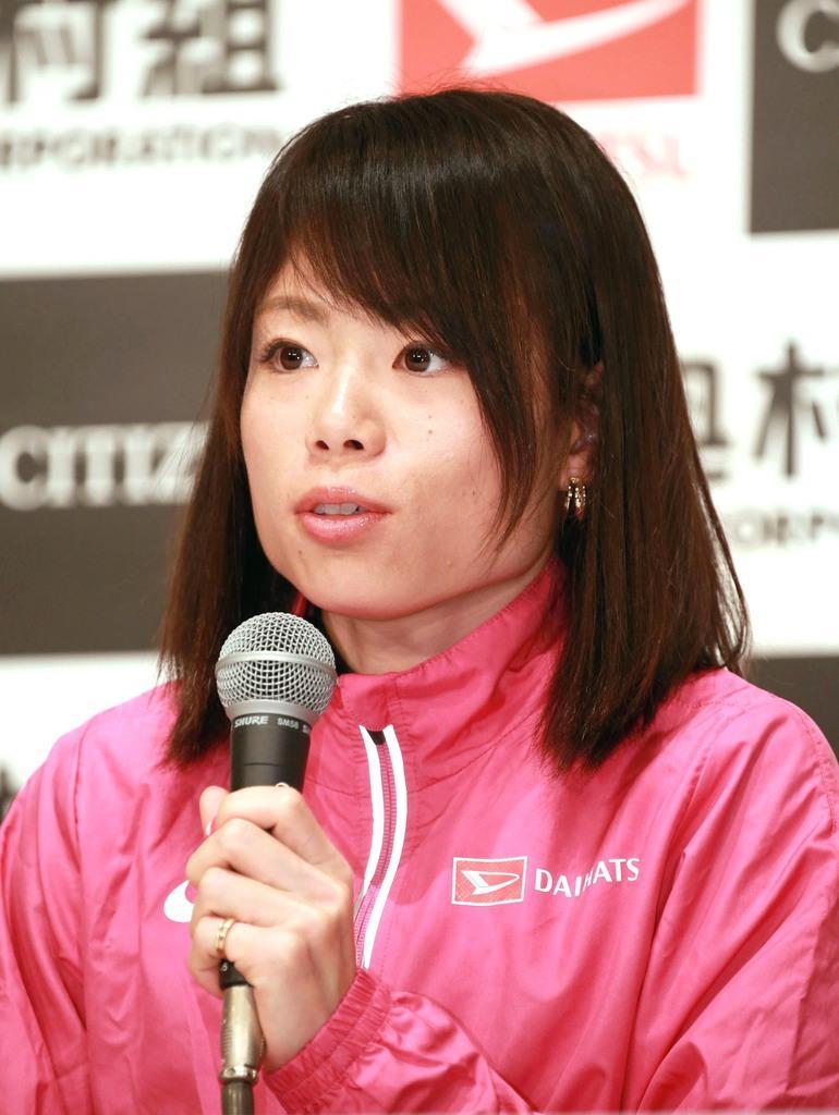 第39回大阪国際女子マラソンの会見に臨む松田瑞生=24日午後、大阪市中央区のホテルニューオータニ大阪(鳥越瑞絵撮影)