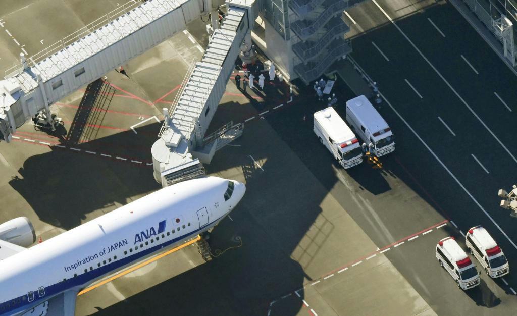 中国・武漢から邦人を乗せ羽田空港に到着した日本政府の全日空チャーター機=29日午前