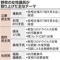 予算委に野党女性議員ズラリ…「桜」の立民、新型肺炎の国民で温度差
