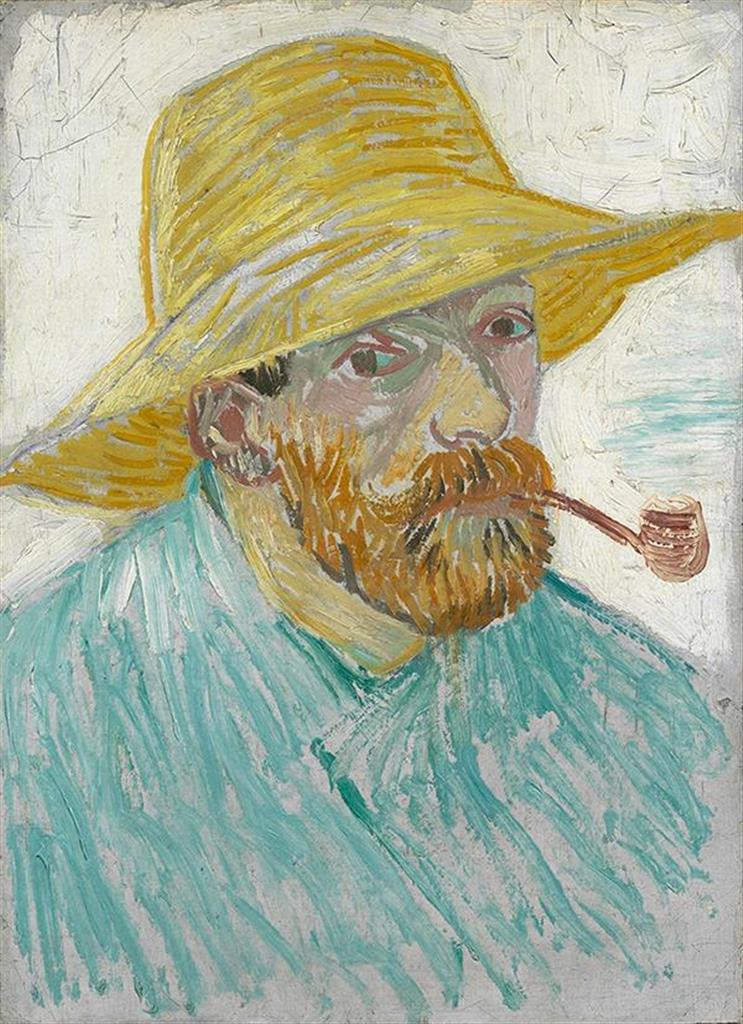 フィンセント・ファン・ゴッホ≪パイプと麦藁帽子の自画像≫ 1887年9-10月 油彩・カンヴァス ファン・ゴッホ美術館(フィンセント・ファン・ゴッホ財団)(c)Van Gogh Museum, Amsterdam (Vincent van Gogh Foundation)
