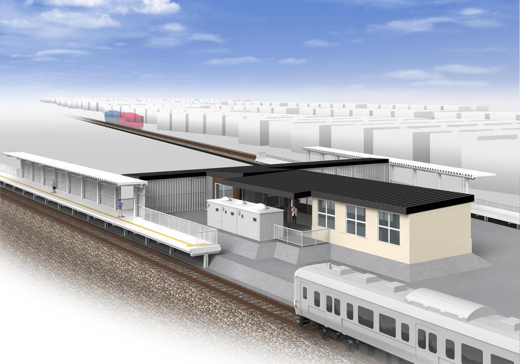 線路間の駅舎から上下それぞれのホームに出る構造の泉外旭川駅完成予想図(JR東日本秋田支社提供)