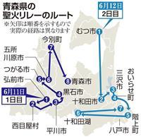 【聖火リレー わが街をゆく】青森 こみせ通り、再建の蕪嶋神社を駆ける