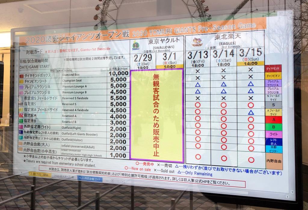 東京ドームのチケット売り場には、2月29日、3月1日のオープン戦が無観客で行われる旨が書かれていた=東京都文京区