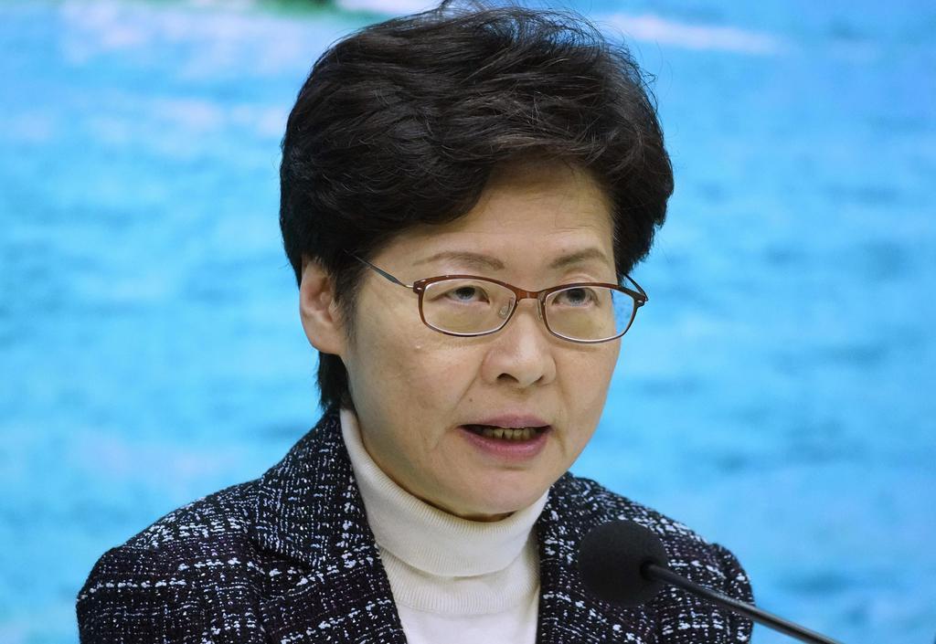 5日、香港で記者会見する林鄭月娥行政長官(AP)