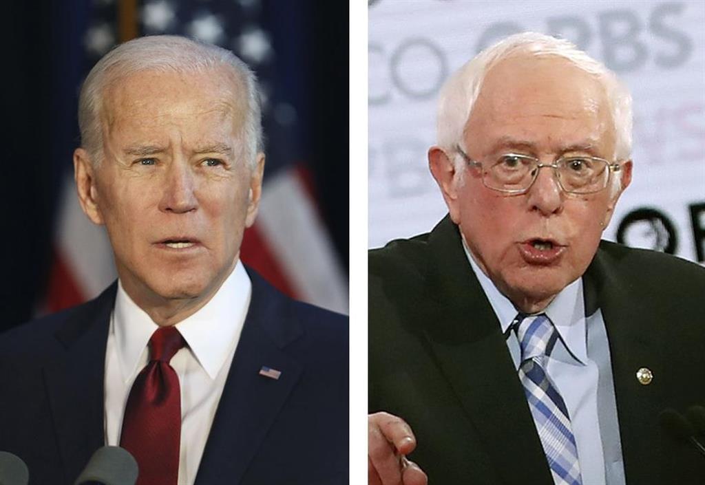 左からバイデン前米副大統領、サンダース米上院議員(いずれもゲッティ=共同)