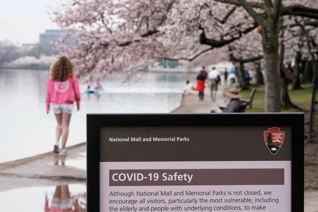 米ワシントンの桜並木の通りには、新型コロナウイルス感染への注意を促す警告が掲げられた =19日(ロイター)