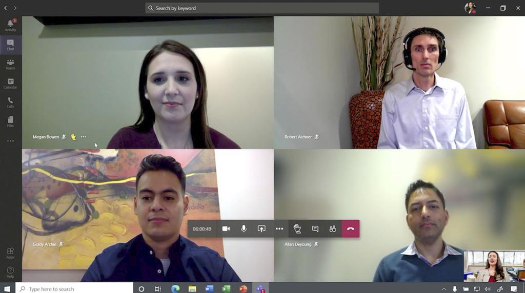 米マイクロソフトの交流ソフト「チームズ」のビデオ会議(同社提供・共同)