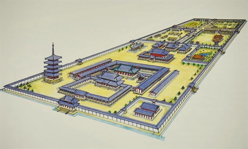 西寺の復元図。図の左側(南西隅)にみえる塔が五重塔(梶川敏夫さん作)