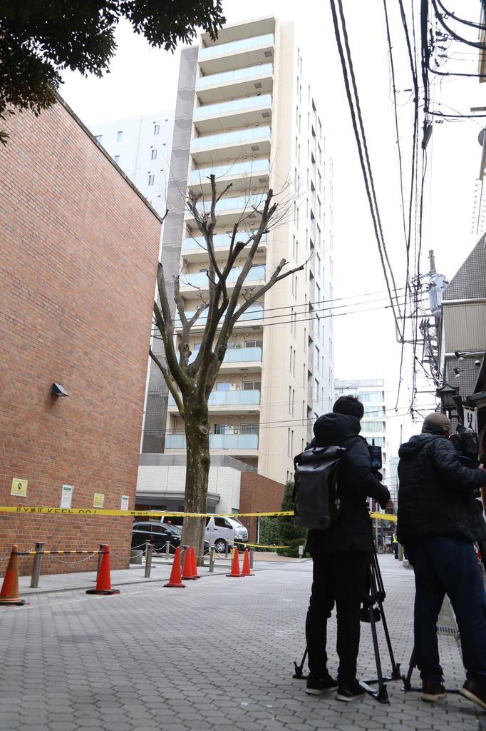 子供2人の遺体が発見されたマンション=23日、東京都武蔵野市吉祥寺本町(松崎翼撮影)