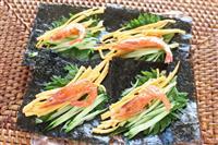 【料理と酒】能登の恵み 炙り甘エビの海苔巻き