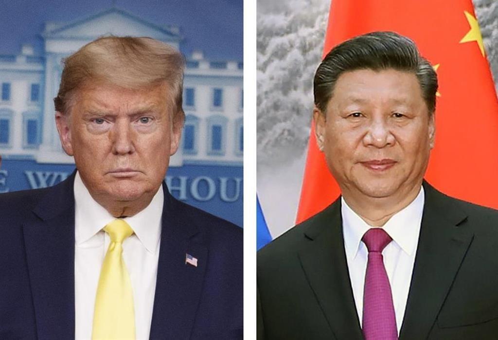 トランプ米大統領(AP=共同)、中国の習近平国家主席(UPI=共同)