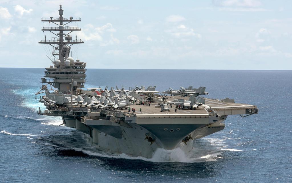 米空母「ロナルド・レーガン」=2017年6月26日(米海軍提供)