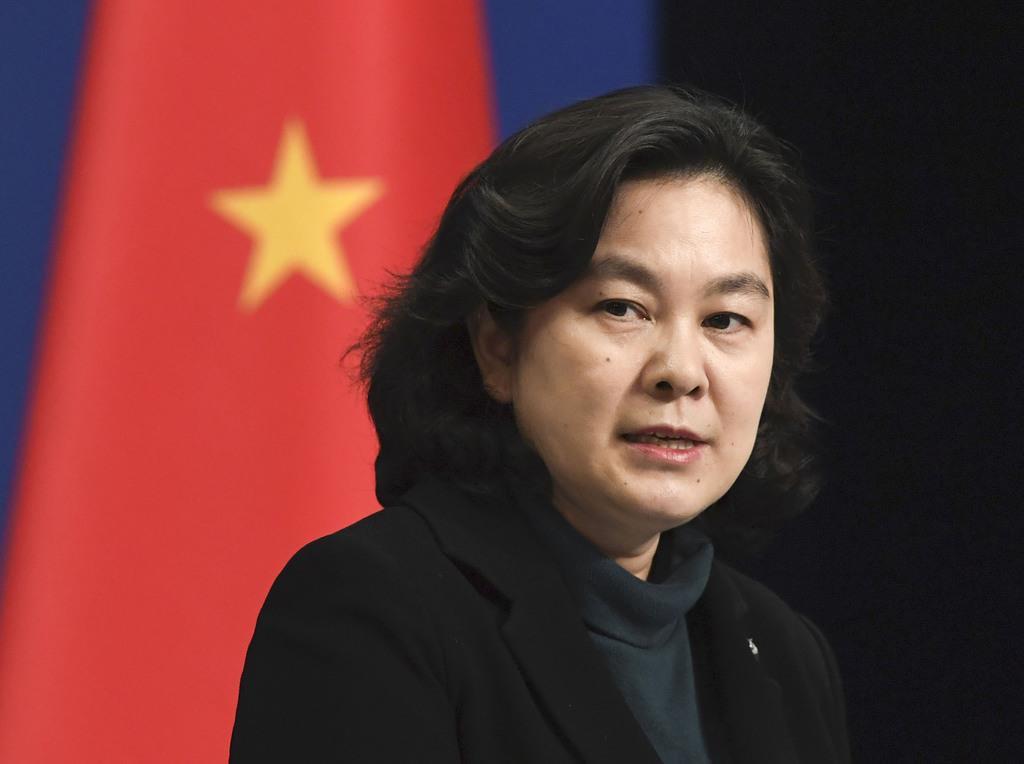 中国外務省の華春瑩報道局長=北京(共同)