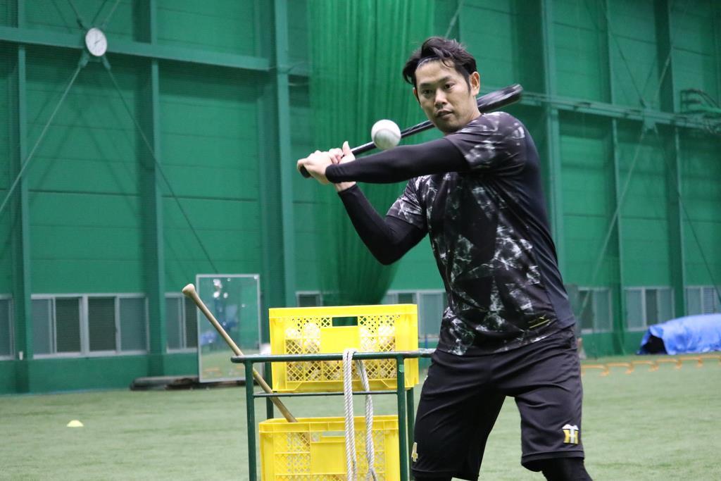 甲子園球場の室内練習場で打撃練習をする阪神の原口(阪神タイガース提供)
