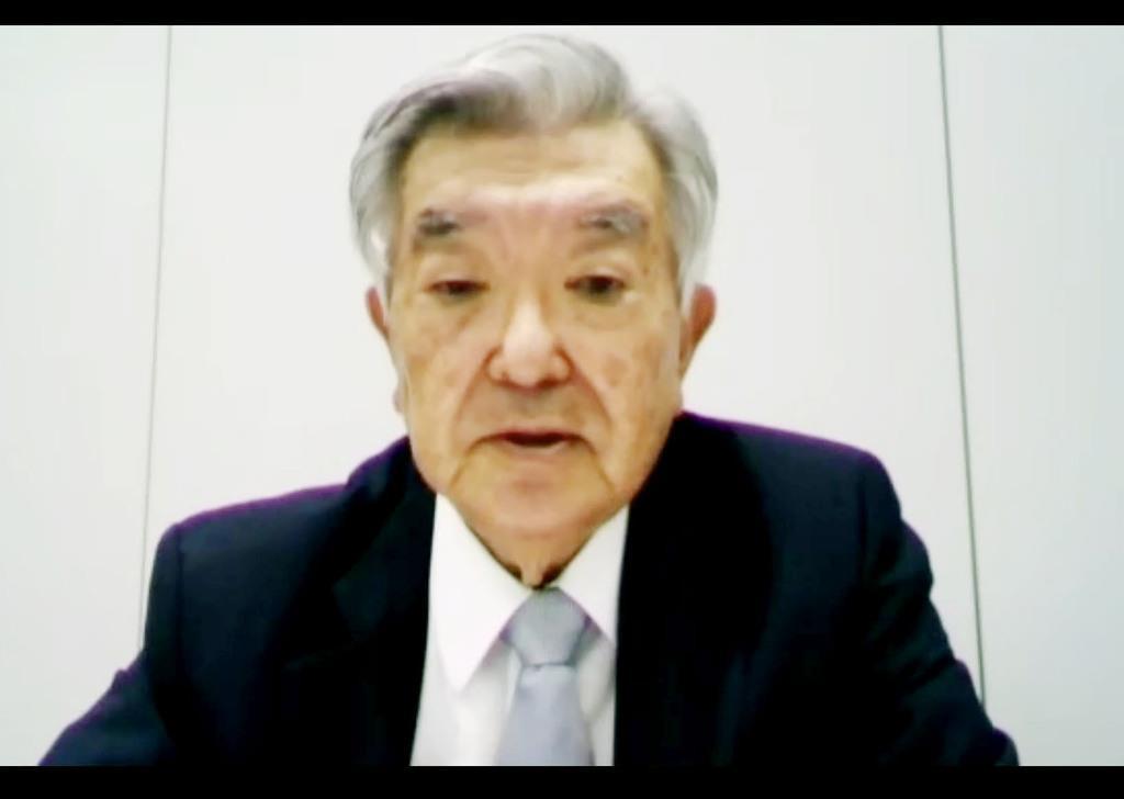 オンラインで行われた合同記者会見で発言するプロ野球の斉藤惇コミッショナー=11日午前
