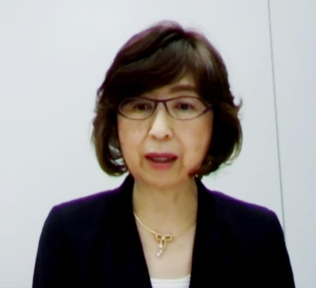 オンラインで行われた記者会見で発言するDeNAの南場智子オーナー=12日