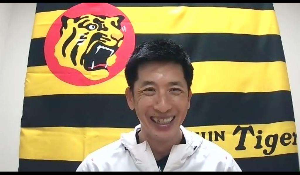 オンライン取材に応じる阪神の矢野監督