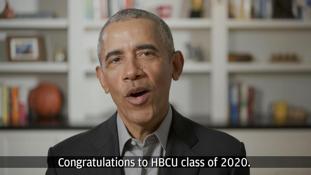 16日、オンラインで大学卒業生らを前に講演するオバマ前米大統領(YouTube/Chase提供・ロイター)