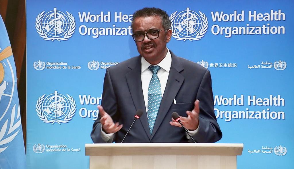 WHO年次総会で発言するテドロス事務局長=18日(WHOホームページより)