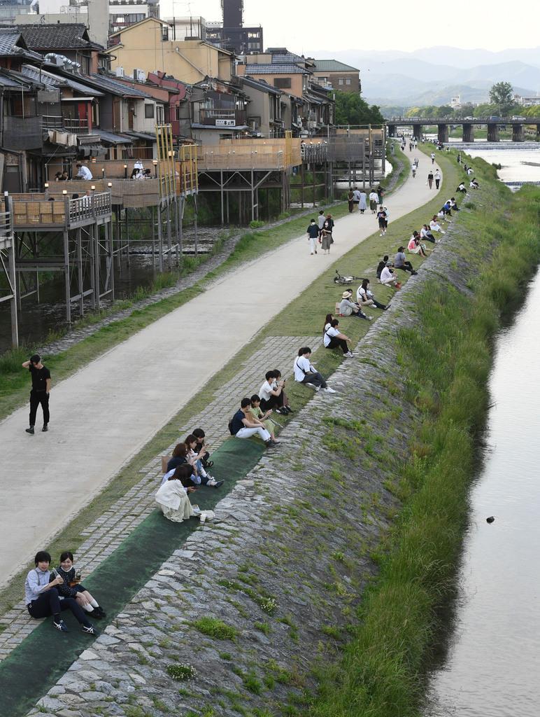 【動画】鴨川に賑わい戻る 自然のソーシャルディスタンスが復活