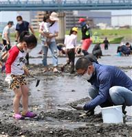 久々の「外遊び」 江戸川放水路で家族連れが潮干狩り 千葉・市川