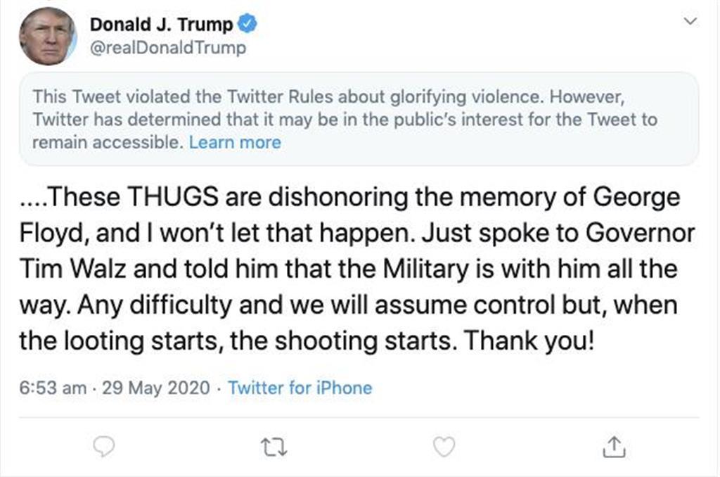 警告が表示されたトランプ米大統領による投稿のスクリーンショット=29日(ロイター)