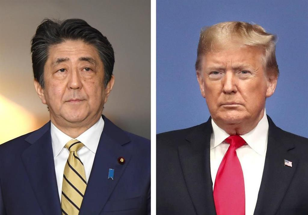 (左から)安倍晋三首相、トランプ米大統領(ゲッティ=共同)
