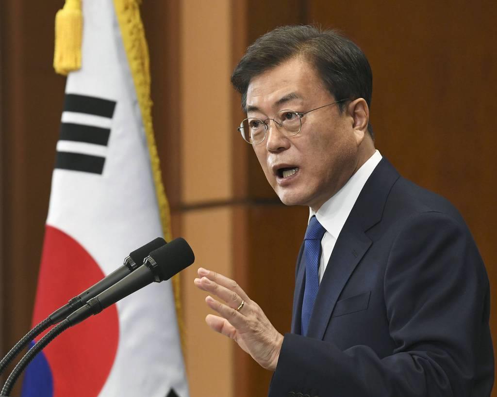 韓国の文在寅大統領(共同)