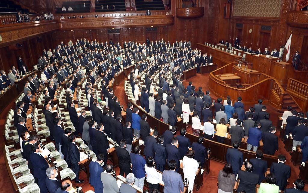 公職選挙法改正案が可決した衆院本会議=2日午後、国会(春名中撮影)