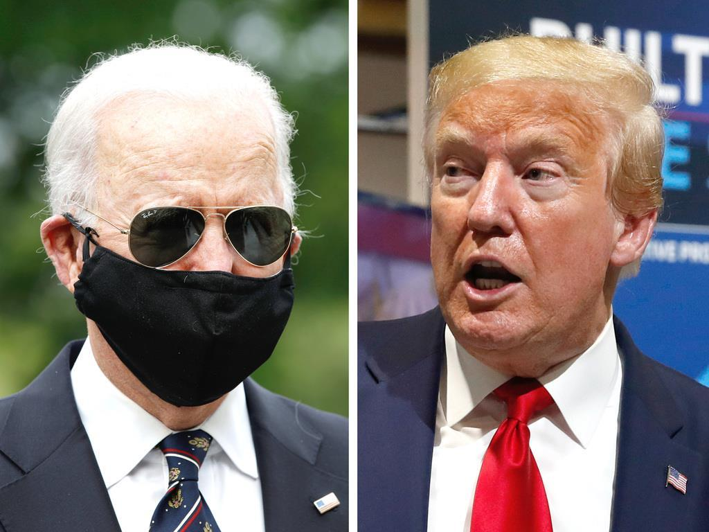 米国の(左から)バイデン前副大統領、トランプ大統領(AP)
