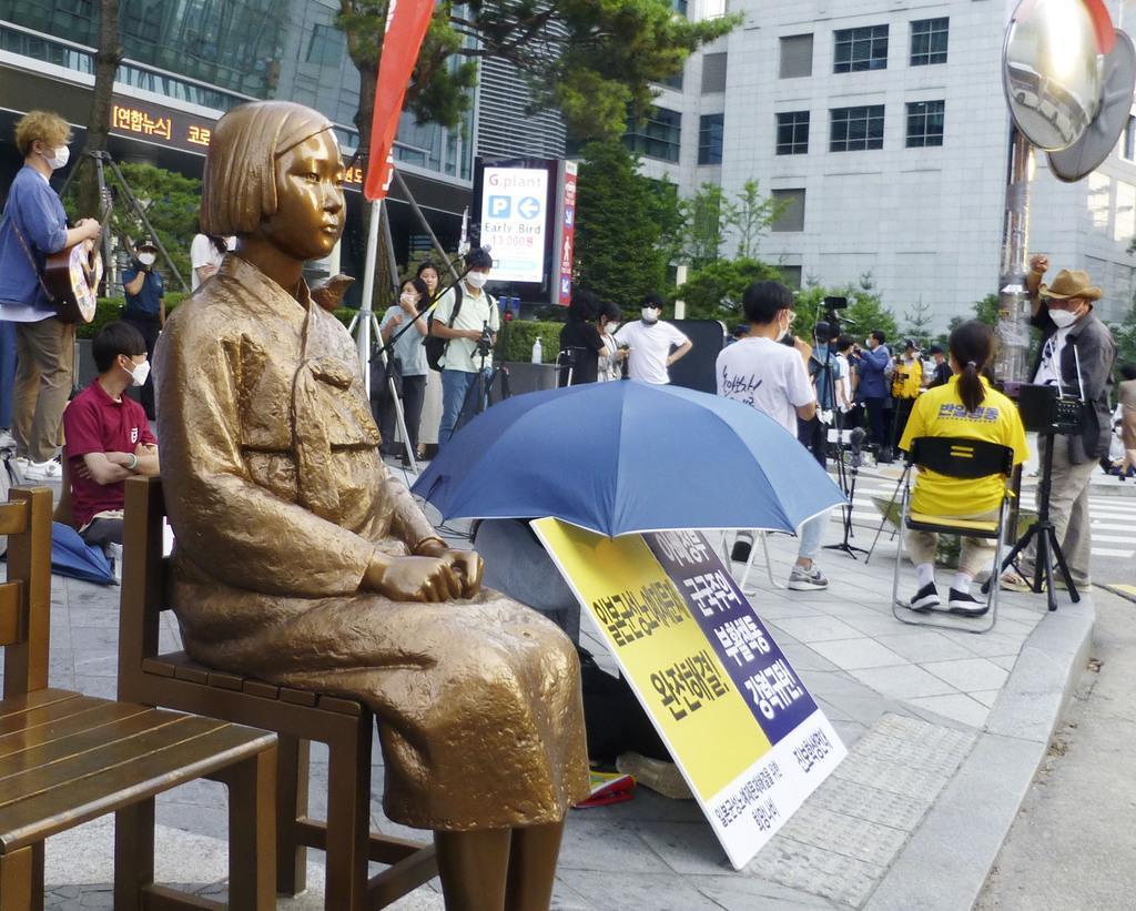 少女像周辺で「集会」開催 韓国、コロナで禁止…警察が警告